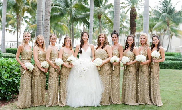 Black and white wedding bridesmaids