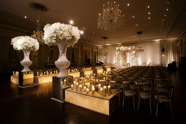 Wedding ceremony ballroom chicago warm wedding candlelight candles boxes custom decor