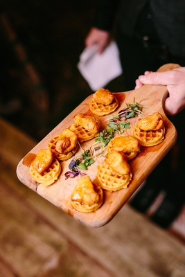mini friend chicken waffles maple syrup rustic chic wedding professional event comfort food app