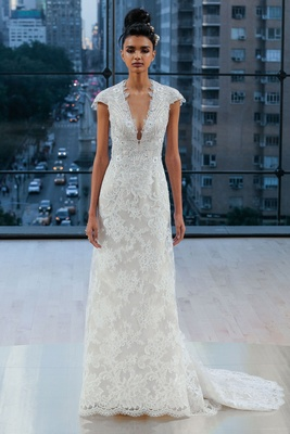 """Chelsea"" Ines Di Santo fall 2018 v neck lace wedding dress cap sleeves bridal gown"