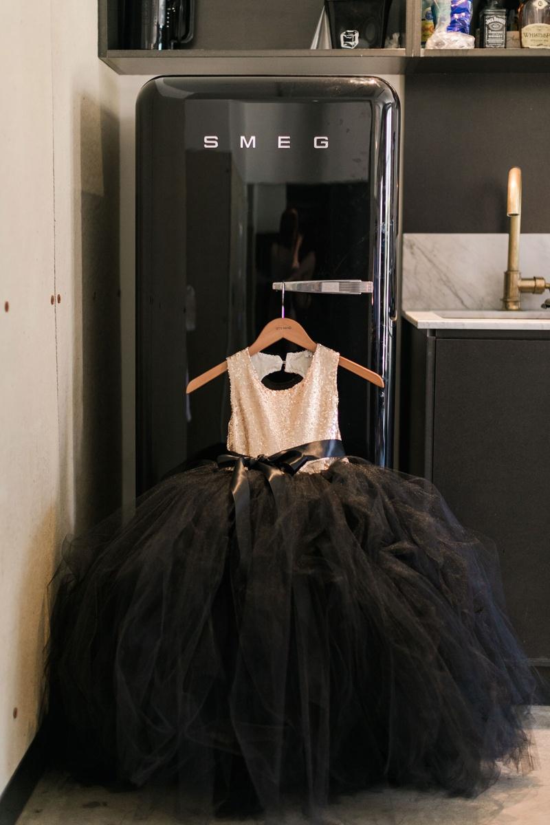 cf1767f912 Black tulle skirt ball gown flower girl dress gold sequin bodice on hanger  smeg refrigerator fridge