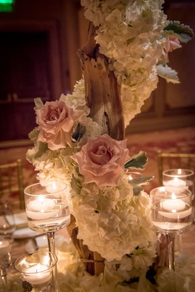 ivory orchid and blush rose wrapped tree, floating candle centerpieces