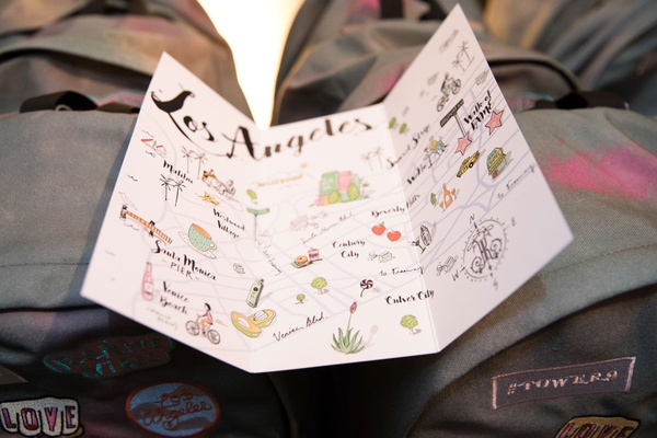 Map of Los Angeles watercolor drawings illustrations with backpack favors for guests at reception