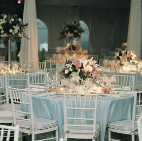 Blue linens and white chairs