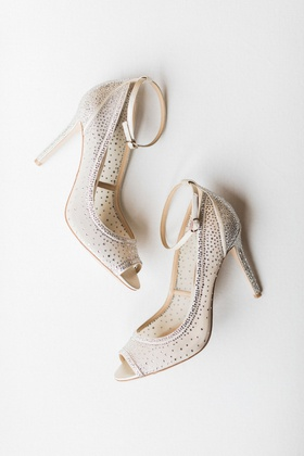 peep toe high heels silver crystal embellishments ankle straps mesh