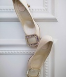 Roger Vivier cream pumps with silver buckle on toe sparkling classic wedding shoe
