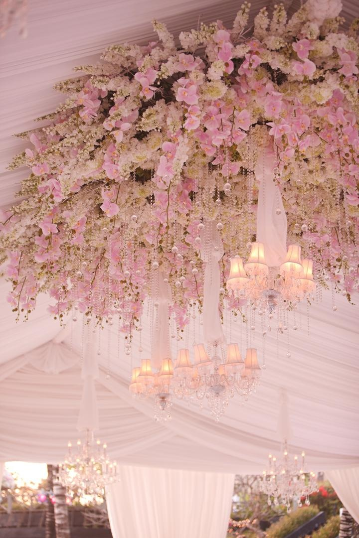 Reception dcor photos pink ceiling treatment inside weddings tent wedding ceiling flower chandelier treatment junglespirit Image collections
