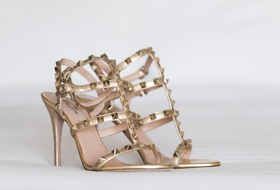 Valentino bridal shoes with gold straps and gold studs