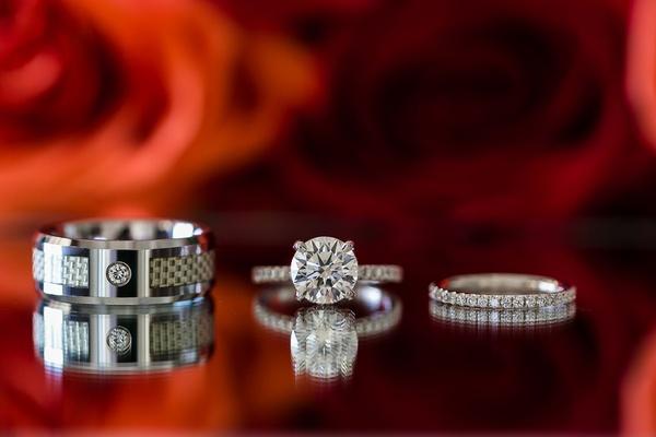2 carat round brilliant diamond engagement ring with pavé eternity wedding band unique men's ring