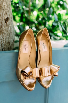 wedding heels shoes bridal pumps peep toe bow detail metallic gold valentino heels