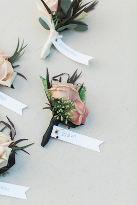 wedding boutonniere with dusty blush roses and ferns