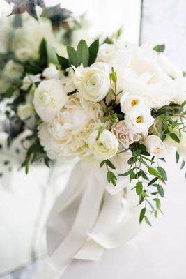 romantic wedding bouquet blush rose white ranunculus and peony flowers greenery ribbon