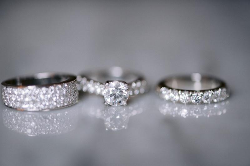 round diamond engagement ring, pavé band, eternity band, diamond men's bands