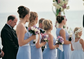 Bridesmaids at ceremony wore mismatched dresses