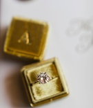 Round solitaire diamond engagement ring in velvet mustard yellow gold mrs box ring box