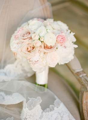 Bride's bouquet of white and light pink flowers