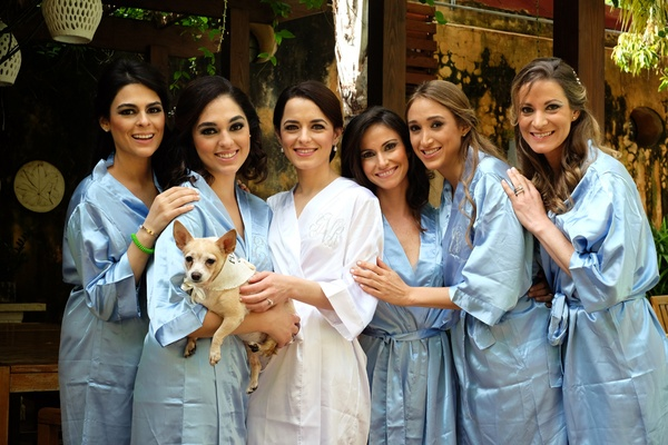 bride white robe bridesmaids light blue getting ready dominican republic wedding dog