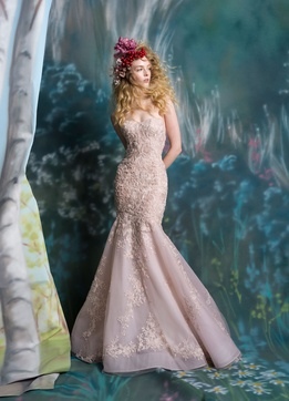 Isabelle Armstrong Spring 2019 collection lace fit and flare gown with beading and embroidery