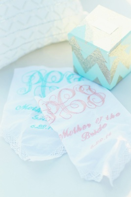895e07a707fdf ... White handkerchief with monogram and date embroidered in pink and light  blue ...