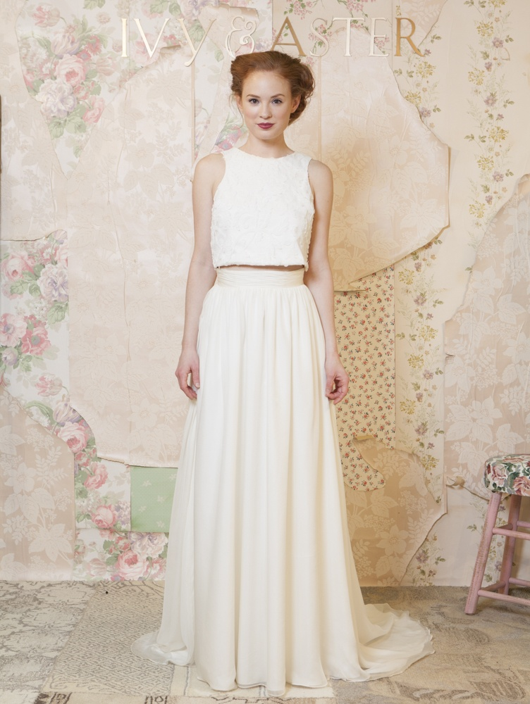 Wedding dresses photos crop top and skirt by ivy aster for Crop top wedding dress