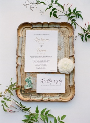 Wedding invitation from Minted gold lettering ranunculus blossom kindly reply rsvp card stamps