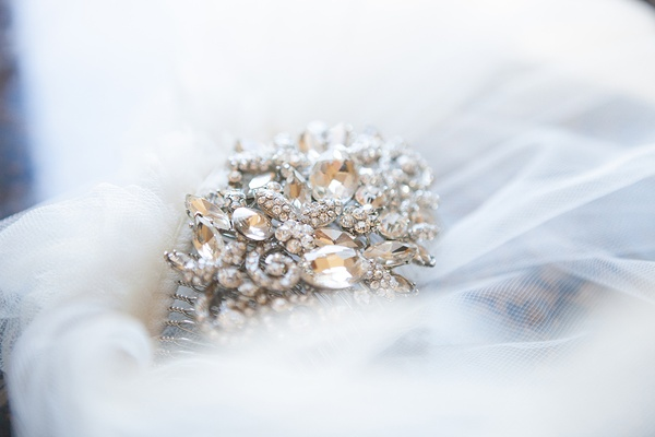 Tara Jewelry crystal and rhinestone headpiece comb attached to bridal veil