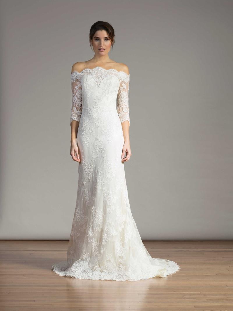 ecd9a97ecfaea Liancarlo Spring 2017 wedding dress off the shoulder lace three quarter  sleeves