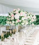 long table blush ivory florals gold details wedding south carolina pastel glass feminine colors