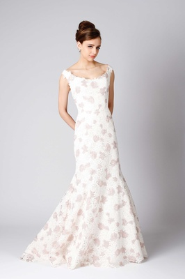 Modern Trousseau Hepburn fit and flare wedding dress pink and white flower print straps