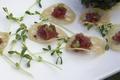 Ahi tuna and wasabi caviar on lotus chips