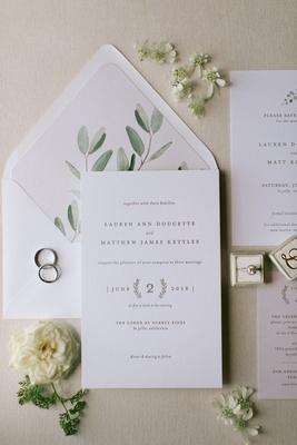 wedding invitation suite greenery envelope liner sage letterpress invitation laurel wreath design