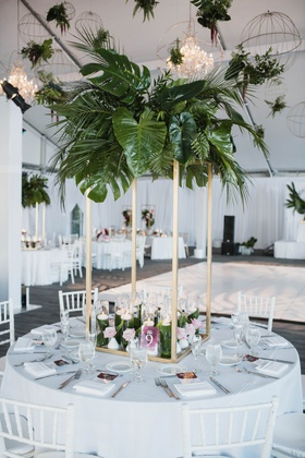 modern tropical wedding reception, gold stand, greenery centerpiece with palm fronds, elephant ears,
