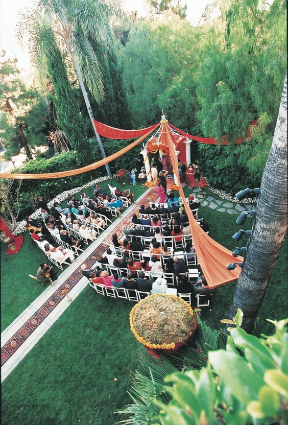 Aerial view of Beverly Hills Indian ceremony