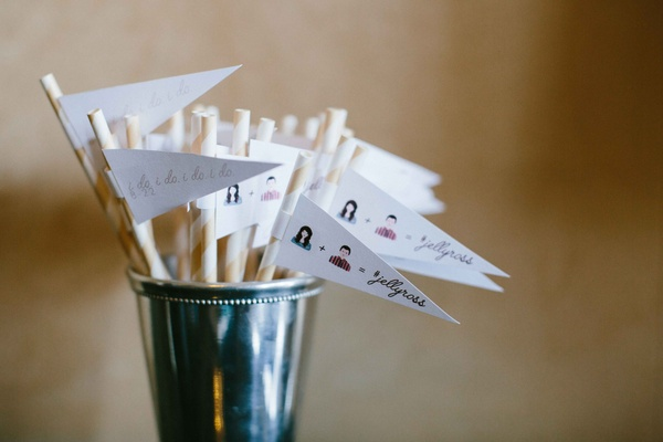 Cocktail paper straws with white flags personalized illustrations and I do I do design