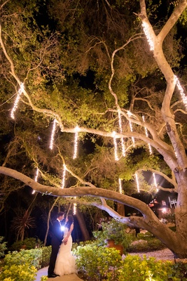 calamigos ranch oak room, suspended lights from tree