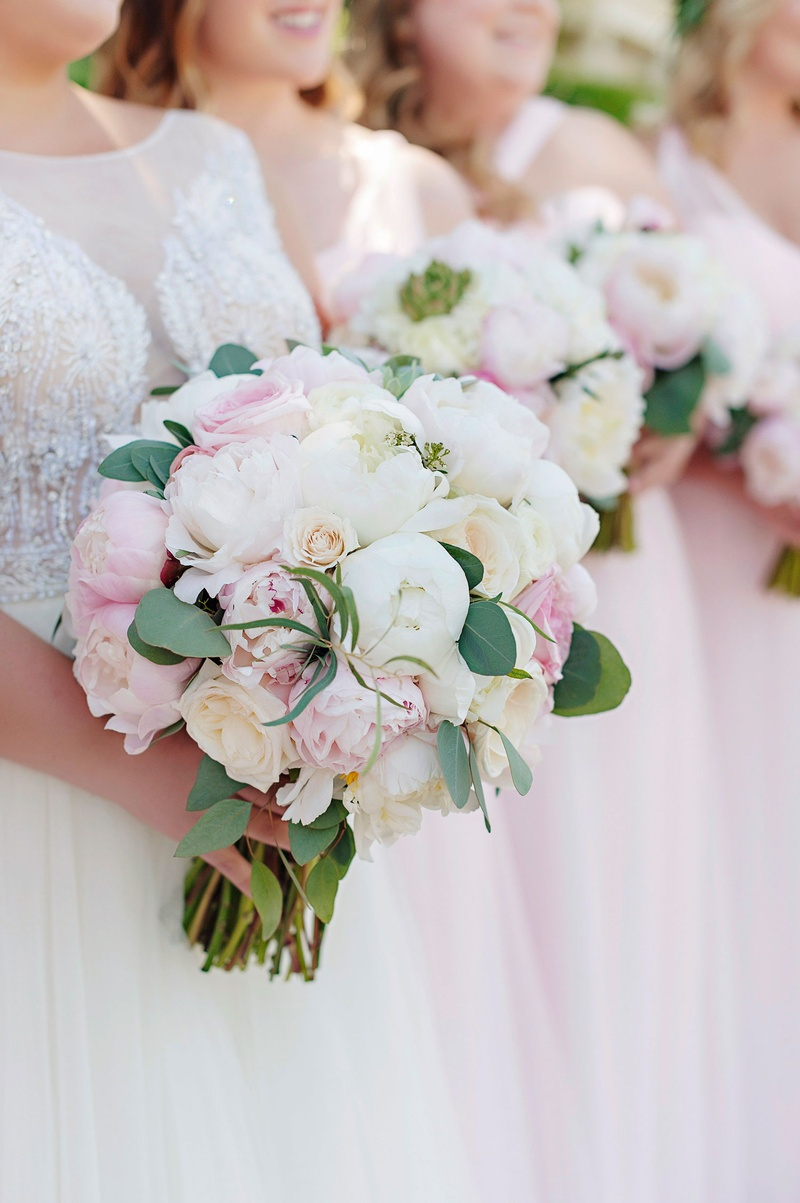 wedding bouquet and bridal bridesmaid bouquets pink peony white peony garden rose green leaves