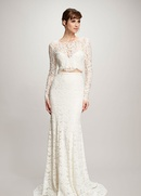 Theia spring 2018 bridal collection Ada two piece wedding dress lace crop top with long sleeves Ines