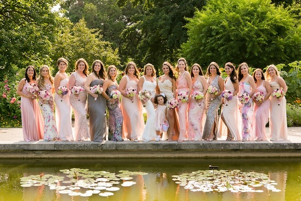Pink bridesmaid dresses with different patterns