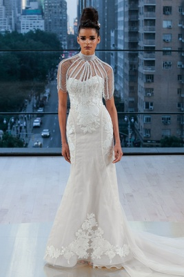 """Perry"" Ines Di Santo fall 2018 strapless wedding dress lace applique embroidery on bodice skirt hip"