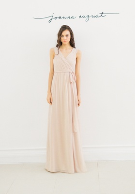Joanna August 2016 sleeveless bridesmaid dress with v-neck and tie around waist in champagne color