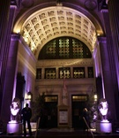 Exterior of Capitale in New York City with purple lights