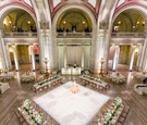 wedding reception ballroom the old courthouse pink white gold greenery color palette