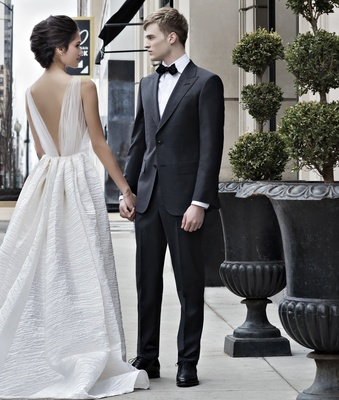 peter langner wedding dress with textured skirt, tulle v-back bodice, classic tuxedo