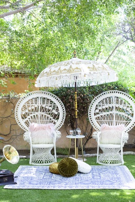 great gatsby inspired garden wedding styled shoot, high back vintage garden chairs, fringed umbrella