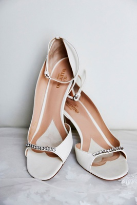 white valentino peep toe high heels pumps jewel detail on toe ankle strap designer