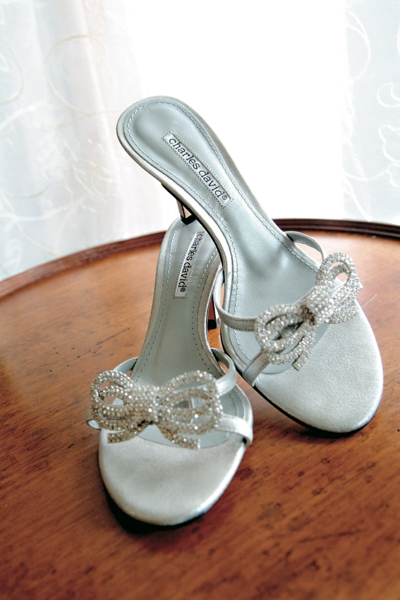 Charles David silver sandals with rhinestone bow