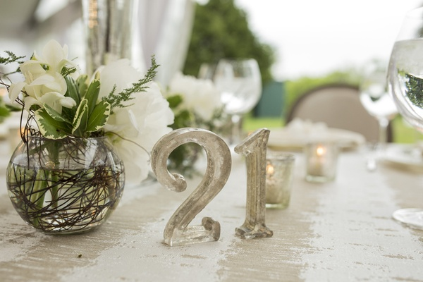 offbeat metallic table number silver funky unique wedding reception lettering outdoor