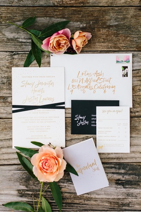 invitation suite with gold calligraphy foil, black response card