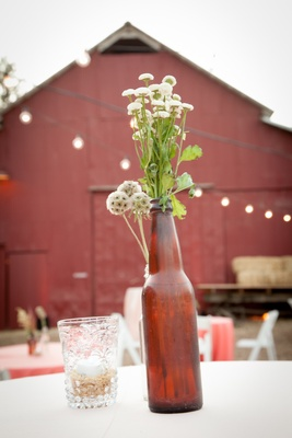 Country Western cocktail hour with antique beer vase
