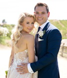 bride in pallas couture gown with blush/nude lining, groom in navy burberry suit, polish traditions